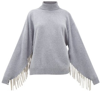 Christopher Kane Chain-trimmed Roll-neck Wool-blend Sweater - Grey
