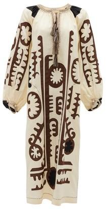 Vita Kin - Mombasa Embroidered Tie-neck Linen Dress - Womens - White Black