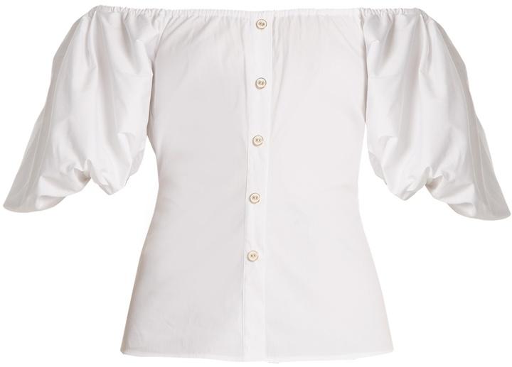Caroline Constas Jolie off-the-shoulder stretch-cotton top