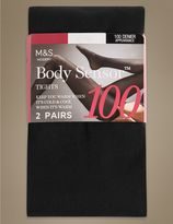 Marks and Spencer 2 Pair Pack 100 Denier Body SensorTM Opaque Tights