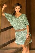 Hand Stamped Rayon Green Fern Motif Dress, 'Fern Forest'