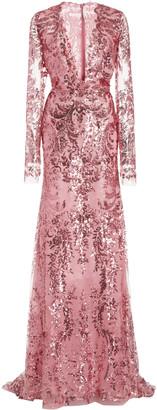 Naeem Khan Sequined Chiffon Gown