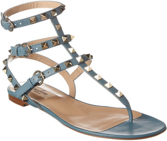 Valentino Rockstud Caged Leather Thong Sandal