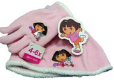 Dora the Explorer 2 Piece Hat Gloves-Pink and White