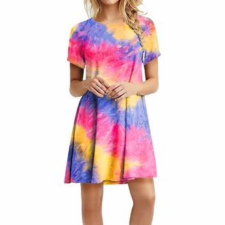 Gofodn Ladies Dresses for Women UK Casual Plus Size Summer Elegant Tie-dye Print Short Sleeve Mini Swing Dress Pink