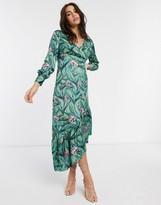 Liquorish asymmetric dress in polka dot green & pink floral