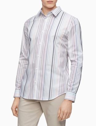 Calvin Klein Stretch Cotton Multi Stripe Button-Down Long Sleeve Shirt