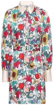 Baum und Pferdgarten Floral-print Silk-jacquard Mini Shirt Dress