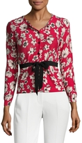 Tracy Reese Women's Cotton Intarsia Tied Cardigan