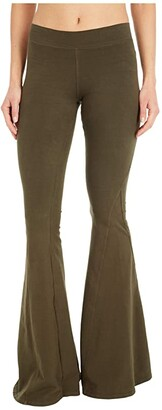 Hard Tail Hippie Chick Flare Pants (Olive Drab) Women's Casual Pants