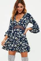 Missguided Crop Sleeve Lace Waist Printed Skater Dress