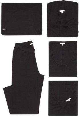 Skin - Heather Ribbed Jersey Pyjama Set - Womens - Black