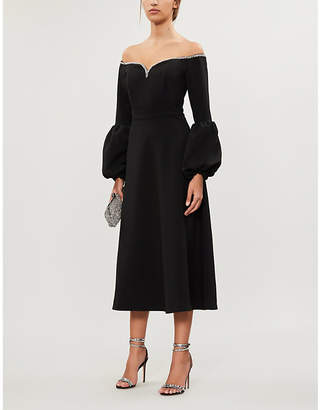 Self-Portrait Self Portrait Off-shoulder crepe midi dress