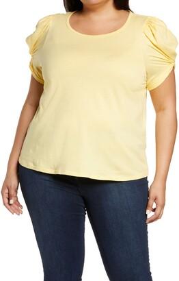 Bobeau Puff Sleeve Cotton T-Shirt