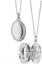 Monica Rich Kosann Sterling Silver Midi 4-Image Locket Necklace with White Sapphires, 32""