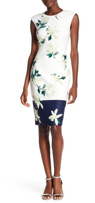 Vince Camuto Floral Print Scuba Bodycon Dress