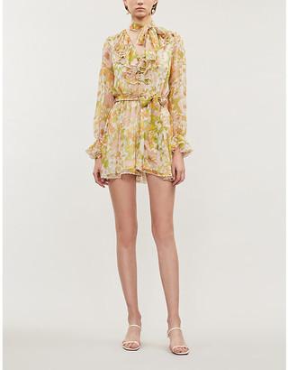 Zimmermann Ruffled V-neck silk-blend mini dress