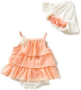 Starting Out Baby Girls Newborn-9 Months Ruffle Tiered Rose Top, Diaper Cover, & Hat Set