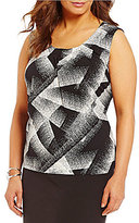 Kasper Plus Rounded Pleated Neck Abstract-Print Cami