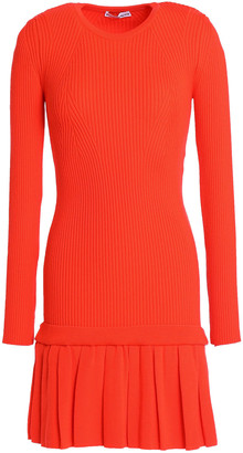 Paco Rabanne Ribbed-knit Wool Fluted Mini Dress