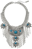 Steve Madden Tribal Curb Chain Necklace w/ Turquoise Stones and Dangling Fringe Necklace