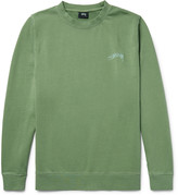 Stussy Embroidered Loopback Cotton-Jersey Sweatshirt