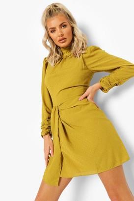 boohoo High Neck Draped Mini Dress