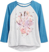 Jessica Simpson Embellished Contrast-Sleeve T-Shirt, Big Girls (7-16)