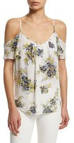 Joie Adorlee B Cold-Shoulder Floral-Print Silk Top