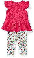 Ralph Lauren Sleeveless Eyelet Top w/ Floral Leggings, Baja Pink, Size 6-24 Months