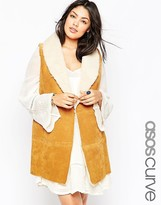 Asos Sleeveless Mid Jacket In Suede With Shearling & Belt