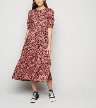 New Look Leopard Print Puff Sleeve Tiered Midi Dress
