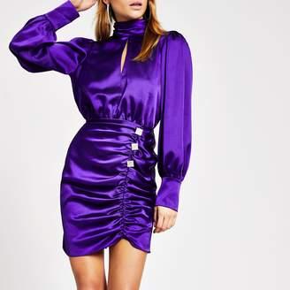 River Island Womens Purple ruched diamante button satin dress
