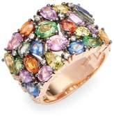 Effy Women's 14K Rose Gold Diamond Multi Sapphire Ring