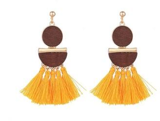 Mustard Tassel Pendant Earrings
