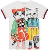 Gucci Kids' Kitten-Friends Cotton T-Shirt Dress