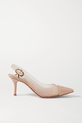 Gianvito Rossi 70 Patent-leather And Pvc Slingback Pumps - Sand