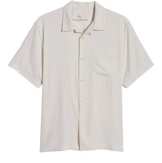 Tommy Bahama Herringbone Short Sleeve Silk Button-Up Camp Shirt
