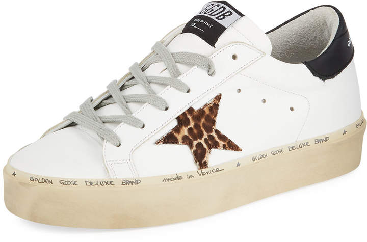 Golden Goose Hi Star Leather Platform Sneakers with Leopard