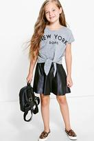 Boohoo Girls Leather Look Skater Skirt
