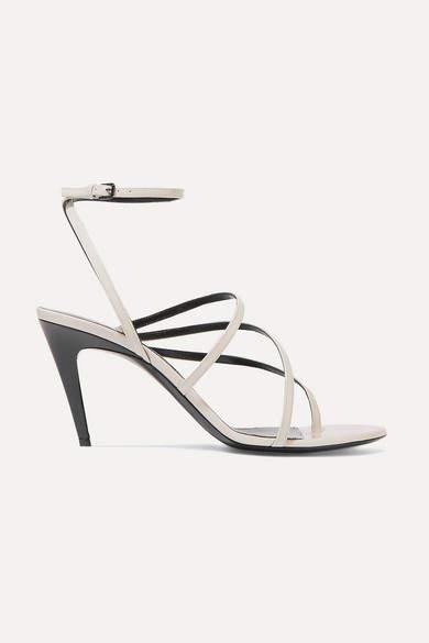 Saint Laurent Paris Minimalist Patent-leather Sandals - Ivory