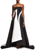Prabal Gurung Strapless Colorblock A-Line Gown, Black/White