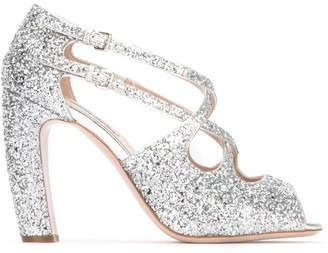 Miu Miu Glittered Strap Detail Heeled Sandals