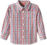 Joe Fresh Toddler Boys' Plaid Button Front Shirt, Dark Red (Size 5)