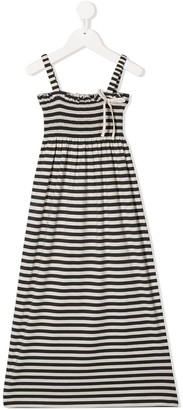 Douuod Kids Striped Front Bow Detail Dress