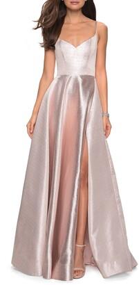 La Femme Metallic Ballgown