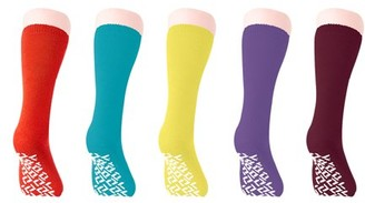 Personal Touch Top of the Line Mid-Calf Hospital Slipper Socks, Great for adults and Designed for medical hospital patients, (5 Pairs Women's Colors)