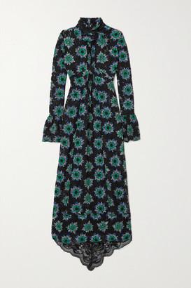 Paco Rabanne Floral-print Lace Turtleneck Maxi Dress - Black