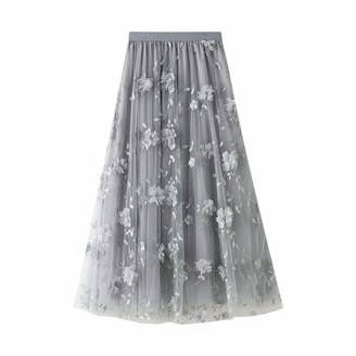 Finerun Women's Pleated Skirts Floral Solid Color A-line Elastic High Waist Mid Length Dress Navy