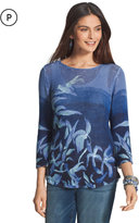 Chico's Blue Floral Fauna Sweater